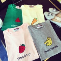 Cute Pattern Watermelon Strawberry Banana Carrot Candy Color Letter Printed T Shirt Women Leisure Short-sleeved Female T-shirt