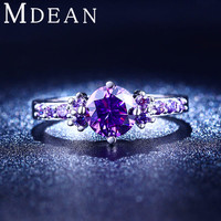 MDEAN White gold plated Rings For Women Purple Amethyst CZ Diamond Jewelry Engagement Bague Bijoux Wedding Accessories MSR199
