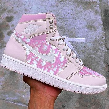 D Dior x Air Jordan 1 Retro High Premium Embroidery Swoosh Pink Nude