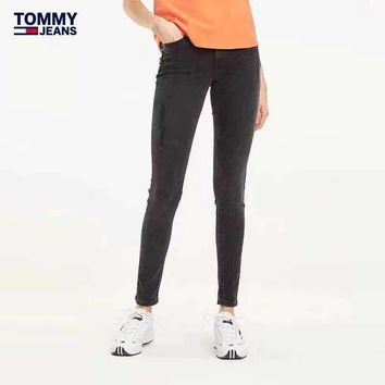 """TOMMY"" Women All-match High Waist Denim Many Buttons Ripped Skinny Jeans Tight Jeans Trousers Slim-fit Pants"