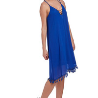 Blue midi dress with V neck and chain detail