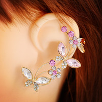crystal rhinestone Insect butterfly rose ear cuff clip earring  jewelry gift for  girl E2484