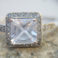 Square Cut White Topaz Solitaire Ring Size 7 Princess Cut IBB CN