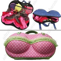 Fashionable Portable Bra Style Molded Storage Bag Case with Dot Prints for Travel from UltraBarato Gadgets