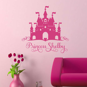 Heart Castle Princess Girl Name Decal, Vinyl Wall Lettering, Vinyl Decals, Wall Quotes