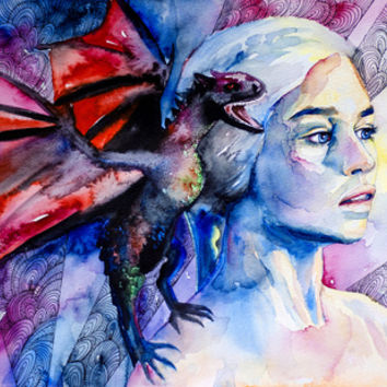 Daenerys Targaryen - game of thrones  Art Print by Slaveika Aladjova