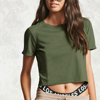 Semi-Cropped Cuffed Tee