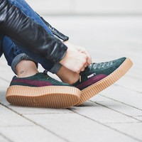 """x Rihanna Suede Creepers """"Green Bordeaux"""""""