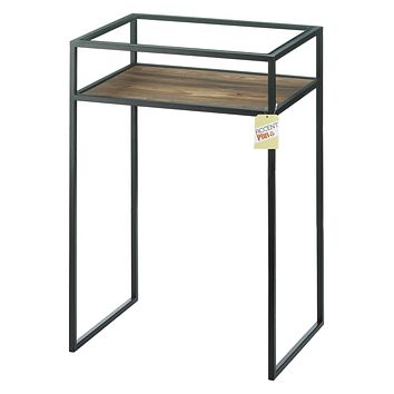 Glass-Top Industrial Side Table