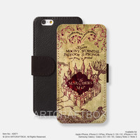 Harry Potter Marauder's Map iPhone Samsung Galaxy leather wallet case cover 071