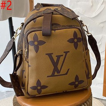 LV Louis Vuitton hot sale stitching color letters shopping backpack school bag Daypack