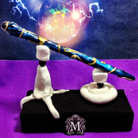 Wicca Pagan Turquoise and Gold Wand