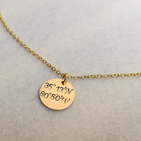 Personalized necklace, Personalized jewelry, necklace, Gold necklace for wife, mom, Coordinates necklace, Bridesmaid Personalized Gift ideas