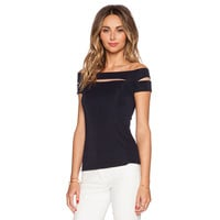 Black Sexy Cut-Out Off The Shoulder Short Sleeve Top