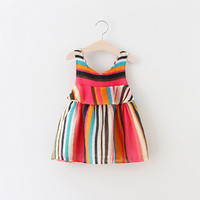 2016 summer children clothing vest dress baby girl colorful strip sleeveless dresses rainbow backless kids mini dress