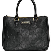 """""""Embossed Sugar Skull"""" Double Handle Bag by Loungefly (Black)"""