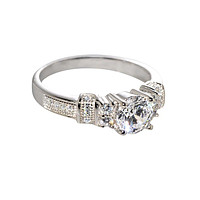 Sterling Silver 6mm Cubic Zirconia CZ Cocktail Ring