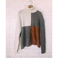 Cable Knit Color Block Sweater