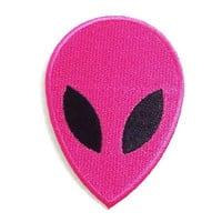 Pink Color Face Alien New Iron On Patch Embroidered Applique Size 5.5cm.x7.7cm.