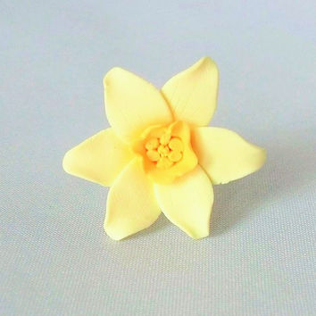 Daffodil Ring, Made To Order, Polymer Clay Jewellery