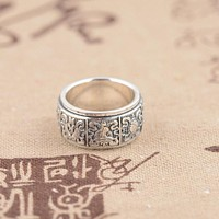 925 Sterling Silver Tibetan Eight Buddhist Scared Spinning Ring