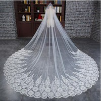 [31.99] In Stock Fabulous Tulle Cathedral Wedding Veil With Lace Appliques - dressilyme.com