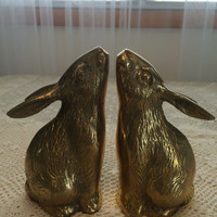 Vintage Brass Rabbit bookends brass bunny bunnies bookend pair set mid century