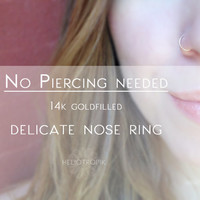 No Piercing Gold Nose Ring - Non Piercing 14k Gold Filled Nose Ring - Thin, delicate Nose Ring - Fake Body Jewelry