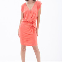 LOVE 21 Knotted Surplice Sheath Dress Neon Coral