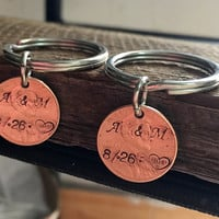 1 set His hers Personalized Penny Keychains Anniversary Gift Husband Wife Key Chain, Boyfriend Girlfriend Gift, Customized Couples Keychains