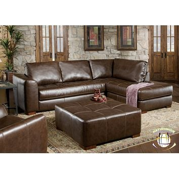 Brown Bonded Leather Sectional by HD Furniture