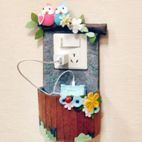 Handmade Cute Felt Power Socket Decor & Phone Charger Basket [DIY Kit OR Finished Item]