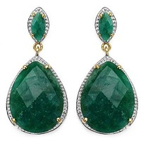 14K Yellow Gold Plated 21.66 Carat Genuine Dyed Emerald .925 Sterling Silver Earrings