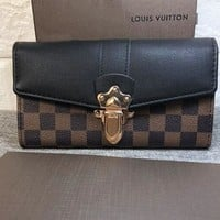 LV Fashion Women Shopping Bag Louis Vuitton Lock Contrast Coffee Tartan Wallet Shoulder Bag B-OM-NBPF Black