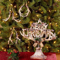 Christmas Decor Antler Sculpture Ornaments Hunter Sportsman Country Lodge Cabin NEW