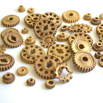 Edible Chocolate Candy Gears SAMPLE 15 unique edible embellishments or stand alone candy