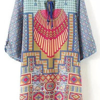 Round Neckline Vintage Print Blue Dress