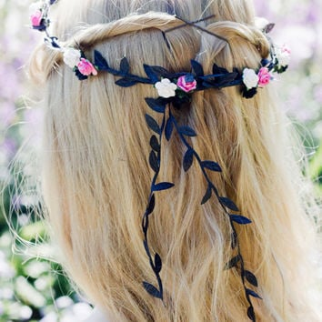 White, Black and Pink Floral and Black Ivy Leaf Trim Fairy Festival Flower Hair Crown Hair Garland