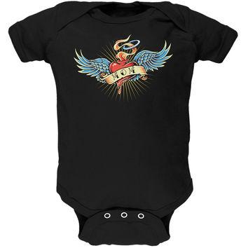 Mother's Day - I Love My Tattoo Mom Black Soft Baby One Piece