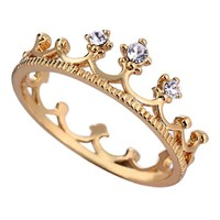 AOLVO Yellow Gold Plated Rhinestone Princess Crown Finger Rings (US Size 8)