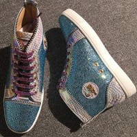 DCCK2 Cl Christian Louboutin Rhinestone Style #1957 Sneakers Fashion Shoes