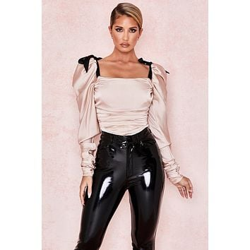fhotwinter19 new women's sexy satin strappy square neck pleated jumpsuit with puff sleeves