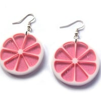 Sparkly Grapefruit Citrus Dangle Earrings