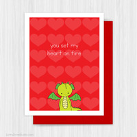 Cute Valentine Card Valentines Day Romantic Dragon Pun For Boyfriend Husband Him Girlfriend Wife Her Handmade Greeting Cards Valentine Gifts