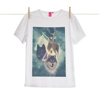 Quirky Illustrated Gifts | Wolf and Deer Mens T-shirt | Drew Turner & Kris Tate | New | Mens | Apparel | Ohh Deer