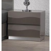 Chintaly Delhi 2 Drawer Night Stand In Grey