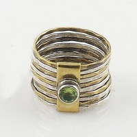 Peridot Two Tone Sterling Silver Stack Ring
