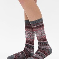 Women's Printed Socks in Red/Grey by Daytrip.