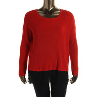 Two by Vince Camuto Womens Ribbed Knit Chiffon Contrast Pullover Sweater