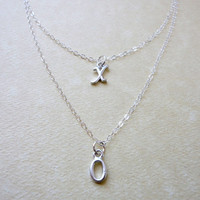 XO double strand necklace, Hugs and Kisses necklace, XO necklace, Sterling silver, Wedding jewelry, Bridesmaid gift